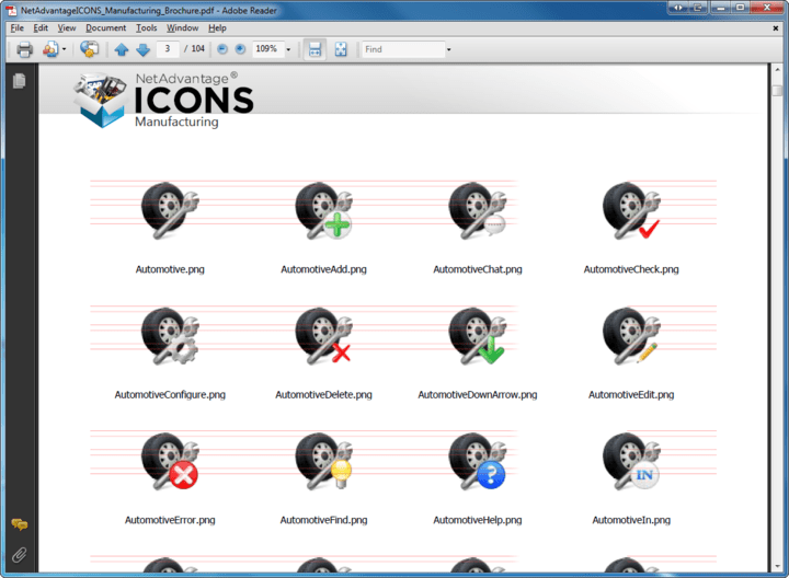 About NetAdvantage ICONS Manufacturing Pack: Add professional icons to your applications.