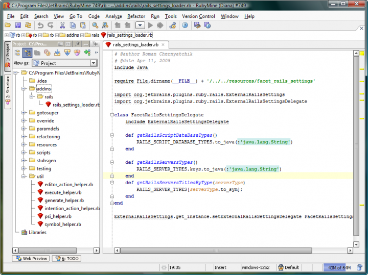 About RubyMine: Ruby and Rails IDE that provides essential tools for developers.
