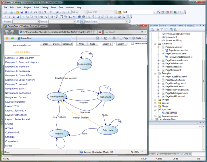 About AddFlow for Silverlight Professional: Create interactive flowchart and workflow diagrams for your Silverlight applications.