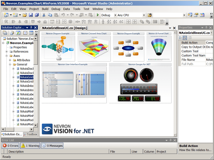 About Nevron .NET Vision Professional: Design your application with professional data visualization tools.