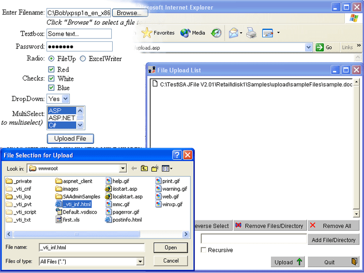 About FileUp Enterprise: Upload files to an IIS web server.