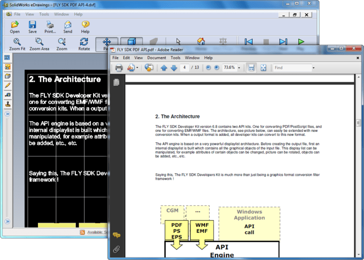 About CAD SDK: Create, convert, import and export PDF, PostScript and Metafiles with just two calls.