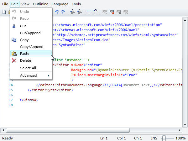 Menus, toolbars & context menus.