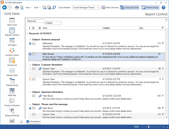 <strong>Create complex reports in a Microsoft Office Outlook style.</strong><br /><br />