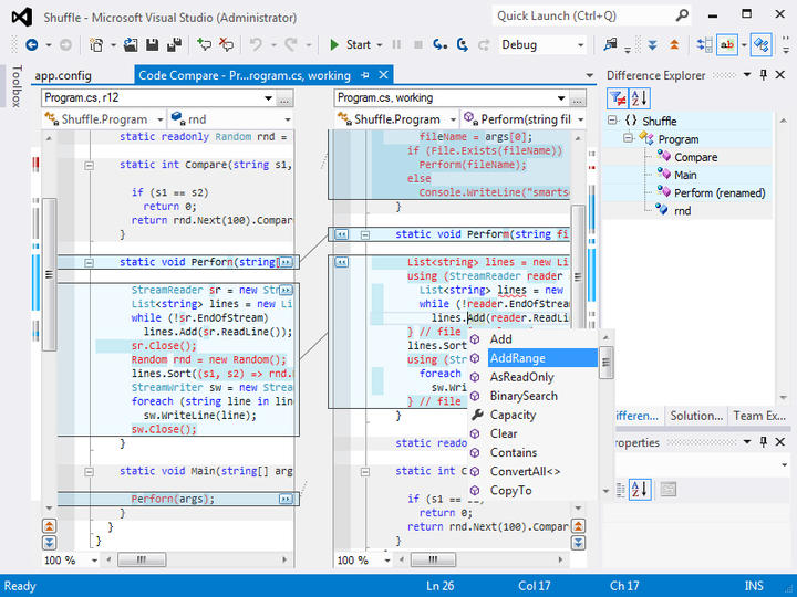 <strong>Work in solution context, use native editors, merge and debug.</strong><br /><br />