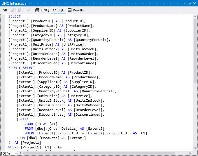 <strong>View the generated SQL with the parameter values used.</strong><br /><br />
