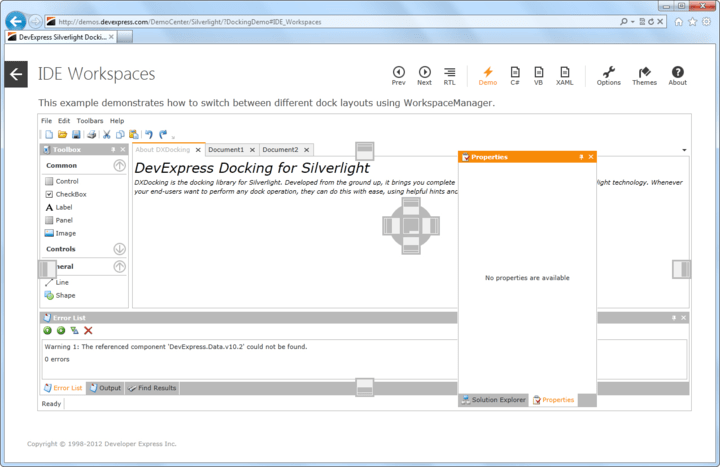 Visual Studio inspired dockable user interface.