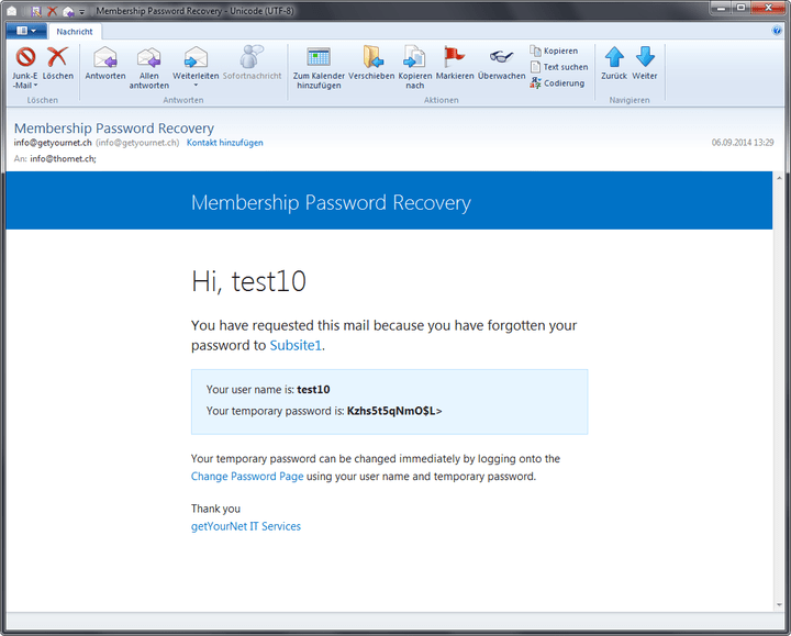 <strong>Password Recovery Email</strong><br /><br />