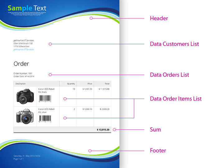 <strong>Sample PDF Layout of Customer Orders</strong><br /><br />