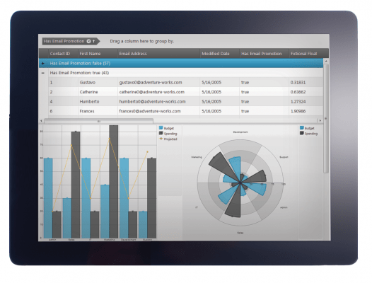 Grid and chart combine for a full business solution.