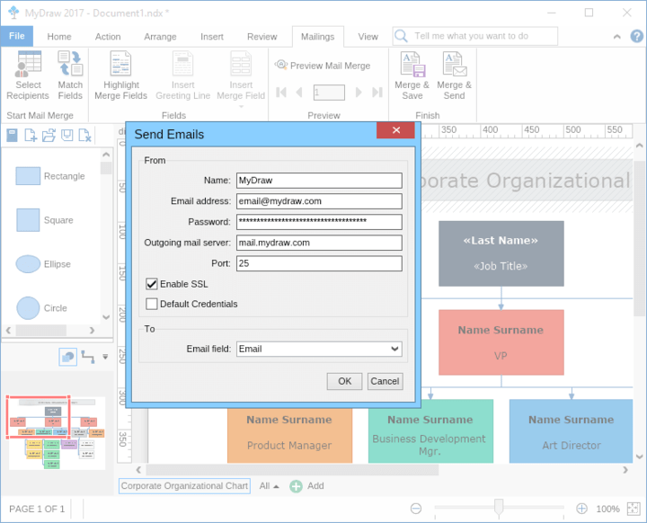 <strong>MyDraw comes with built-in mail merge functionality.</strong><br /><br />