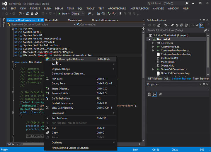 <strong>.NET Reflector integrates fully with Visual Studio 2012.</strong><br /><br />