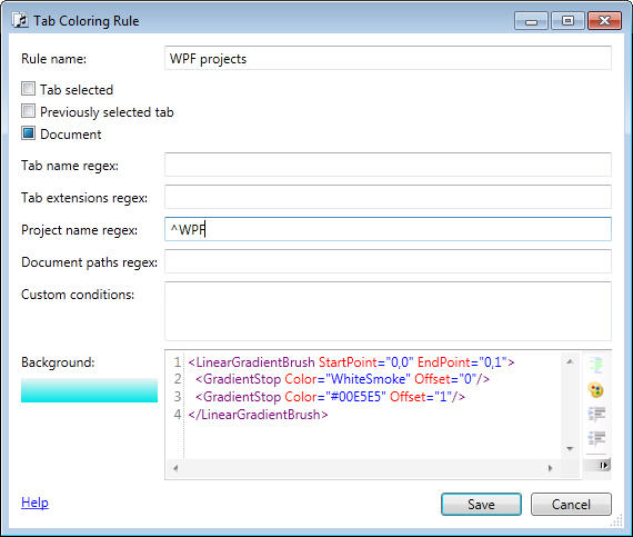 <strong>Set up different colors for tabs by name, project or path.</strong><br /><br />