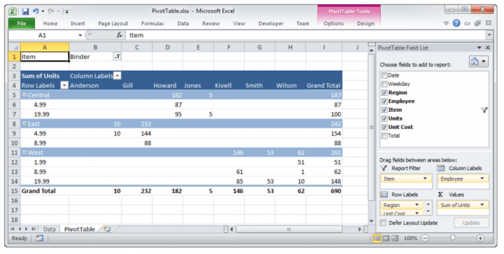 Custom integration gives run-time manipulation of pivot tables.