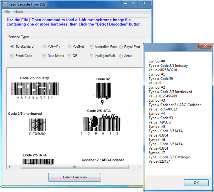 <strong>Recognize different barcode types</strong>: 2D Barcodes - Aztec, DataMatrix, PDF417,QR Code 1D Barcodes - Add-2, Add-5, Airline 2 of 5, Australia Post 4-State Code, BCD Matrix, Codabar, Code 128 (A,B,C), Code 2 of 5, Code 32, Code 39, Code 39 Extended,Code 93, Code 93 Extended, DataLogic 2 of 5, EAN 128 (GS1, UCC), EAN-13, EAN-8, Industrial 2 of 5, Intelligent Mail (OneCode), Interleaved 2 of 5, Invert 2 of 5, ITF-14 / SCC-14, Matrix 2 of 5, Patch Codes, PostNet, Royal Mail (RM4SCC), UCC 128, UPC-A, UPC-E<br /><br />