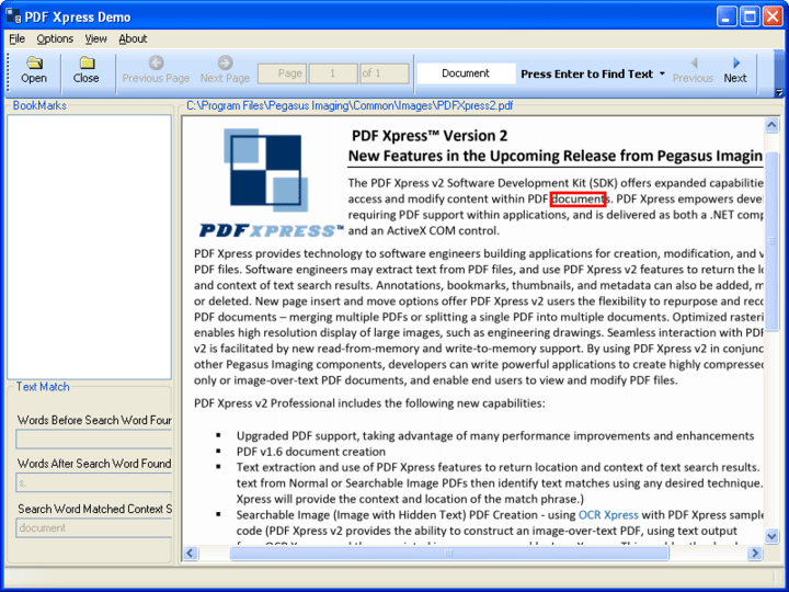 <strong>PDFXpress .NET 스크린샷</strong>: PDF Xpress supports extracting text content from PDF pages and reporting contextual information for specific words. Use PDF Xpress to report the counding quadrilaterals and surrounding words for any whole or partial word extracted from the pages of a PDF document.