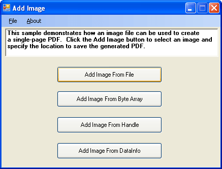 <strong>PDFXpress .NET 스크린샷</strong>: You can import images from multiple sources such as a File, Byte Array, Handle or DataInfo.