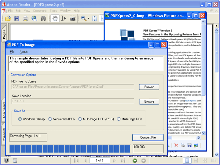 <strong>PDFXpress .NET 스크린샷</strong>: PDF Xpress allows you to convert PDF documents to image formats such as Windows Bitmap, Sequential JPEG, Multi-Page TIFF (JPEG) and Multi-Page DCX.