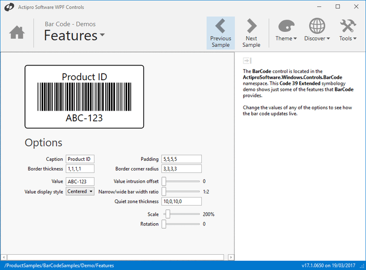 <strong>Bar Code Titles</strong>: With Actipro Bar Code for WPF you can easily add descriptive titles above the bar code lines. <br /><br />