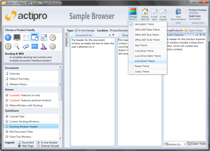 Built-in Office and Windows system themes: Actipro Docking & MDI includes Built-in Office and Windows system themes like office 2007, Aero Theme, Luna theme, etc..