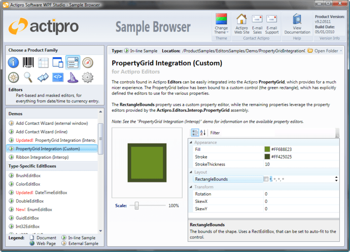 <strong>PropertyGrid Interop</strong>: The Actipro Editors controls can be easily integrated into the Actipro PropertyGrid using a special Interop assembly. The Interop assembly provides several default property editors, which are used by the PropertyGrid control to associate a control (or DataTemplate) with one or more properties. Samples are included that show how to accomplish this, or to build your own custom property editors. <br /><br />