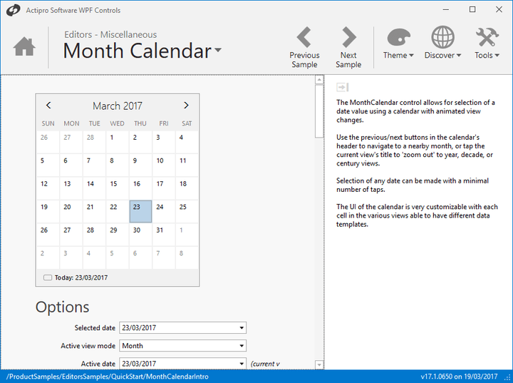 <strong>MonthCalendar Control</strong>: MonthCalendar can be used to select one or more dates, with support for custom logic (e.g. exclude weekends from selection). There are four view levels (Month, Year, Decade, and Century) which use smooth zoom in/out animations and allow the end-user to quickly navigate around.
