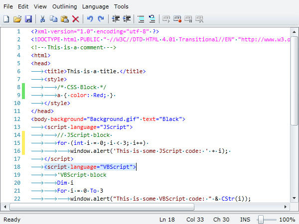 <strong>HTML Editing</strong>: SyntaxEditor supports merging of multiple language lexers together as seen here, where HTML can transition to Javascript and ASP.  Nearly all of the rich editing features found in the Visual Studio code editor come packed in SyntaxEditor, such as line modification marks, visible whitespace and current line highlights.<br /><br />