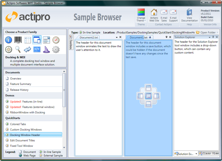 <strong>Actipro Docking & MDI</strong>: Actipro Docking & MDI is a complete solution for easily adding a docking tool window and/or multiple document interface to your WPF applications. Allow your end users to drag and dock tool windows wherever they please, and to persist their customizations. <br /><br />