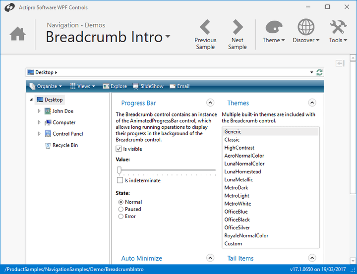 <strong>Breadcrumb</strong>: Breadcrumb provides all the functionality found in Windows explorer addressbar control and more. Use it to conserve screen real estate when navigating through any sort of hierarchical data, such as file systems.