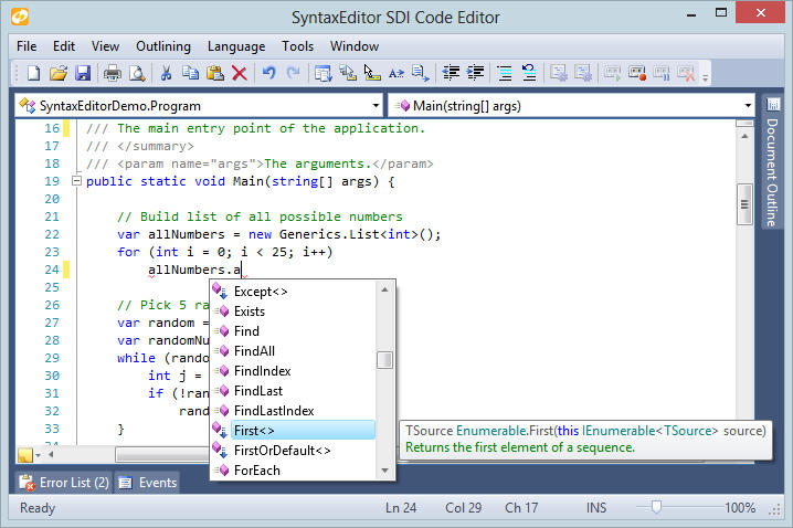 <strong>C# IntelliPrompt</strong>: The C# syntax language that ships with the optional .NET Languages Add-on (sold separately) provides syntax highlighting, parsing, AST construction, syntax error reporting, code outlining (folding), automatic IntelliPrompt (code completion, quick info, parameter info, code snippets, etc.), type/member drop-down functionality, and much more.<br /><br />