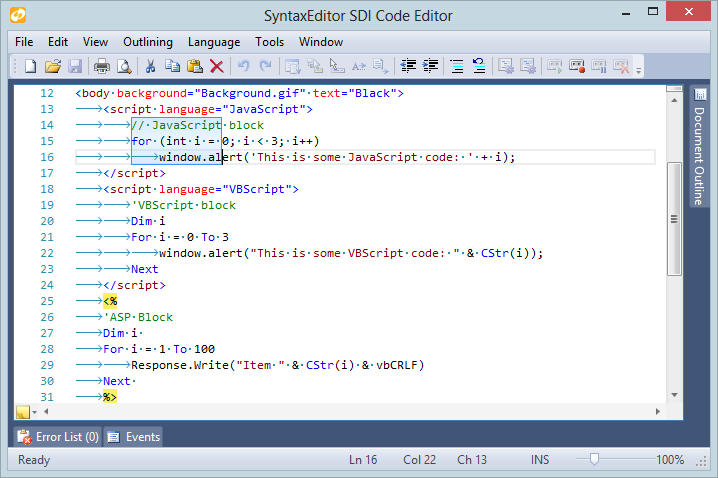 <strong>HTML Editing</strong>: SyntaxEditor supports merging of multiple language lexers together as seen here, where HTML can transition to Javascript and ASP.  Nearly all of the rich editing features found in the Visual Studio code editor come packed in SyntaxEditor, such as line modification marks, visible whitespace, current line highlights, rectangular selection, word wrap, and more.<br /><br />
