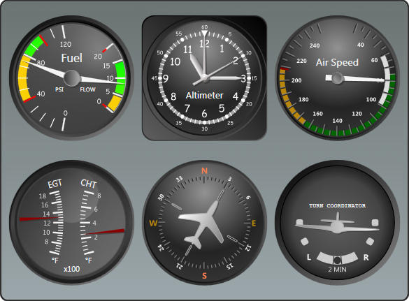 <strong>Flight Gauges</strong>: Use Actipro gauges to build flight controls.<br /><br />