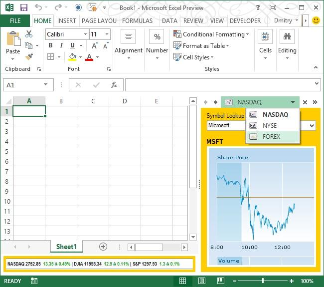 Task Pane in Excel 2013: A sample task pane in Excel 2013.