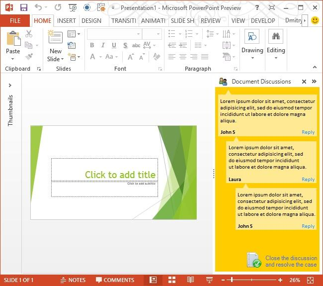 <strong>PowerPoint 2013</strong>: A sample task pane in PowerPoint 2013.<br /><br />