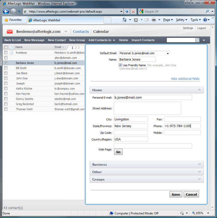 Screenshot of WebMail Pro for ASP.NET