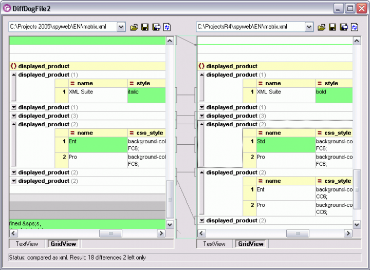 Screenshot of Altova DiffDog Professional 2015