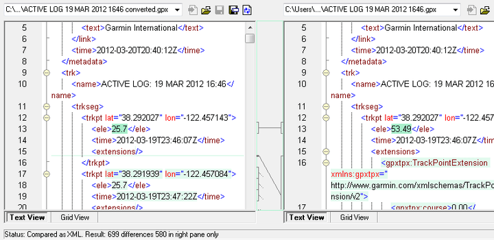 <strong>XML Differencing</strong>: When you select two XML files to compare, DiffDog opens them side-by-side and indicates differences with colored highlighting and connecting lines. XML-conformant syntax coloring is supported, as well. <br /><br />