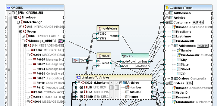 <strong>EDI Mapping</strong>: Altova MapForce allows you to map EDI messages to and from XML, databases, flat files, Excel 2007, and Web services. Full support for the UN/EDIFACT, ANSI X12, and Health Level 7 (HL7) standards means that you can seamlessly integrate this data with other<br /><br />