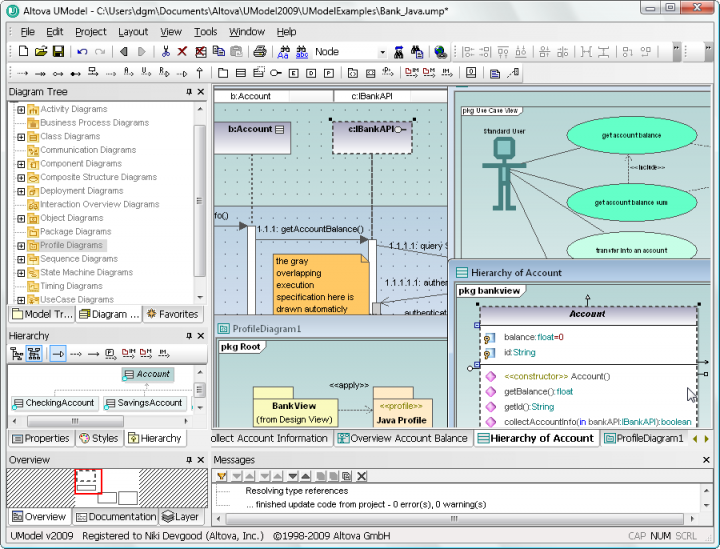 UModel: UModel combines a rich visual interface with superior usability features to help level the UML learning curve, yet it also includes high-end functionality to empower users with the most compelling advantages of UML software development.