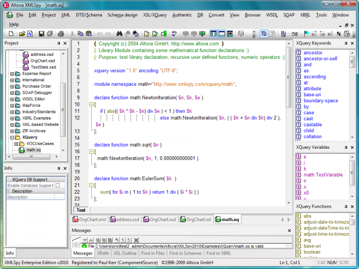 Schema Tools: Altova XMLSpy provides schema tools for visualizing, developing, generating, converting, and validating XML Schemas and DTDs.
