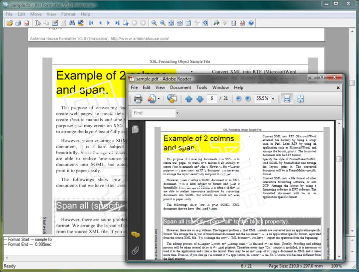 <strong>Screenshot of AH XSL Formatter Lite</strong><br /><br />