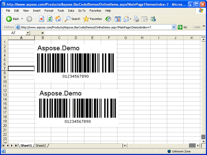 <strong>Insert to Excel</strong>: With the help of Aspose.Excel, Aspose.BarCode can insert BarCodes into a MS Excel document file (.xsl) easily. 