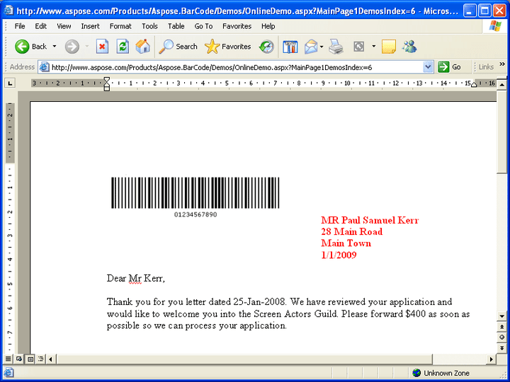 <strong>Insert to Word</strong>: With the help of Aspose.Word, Aspose.BarCode can insert BarCodes into a MS Word file (.doc) easily. 