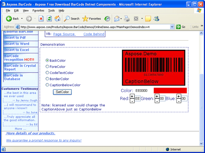 <strong>Colorful BarCodes</strong>: In some situations you may need more than a black-white barcode. With Aspose.BarCode, you'll have full control of the barcode's color. 