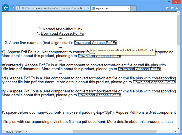 <strong>Links</strong>: You can creates pdf documents from FO files that include links. 