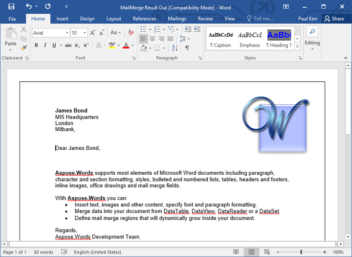<strong>Mail Merge</strong>: You can create a letter for a list of clients defined in a database. This is similar to the mail merge function in Microsoft Word. <br /><br />