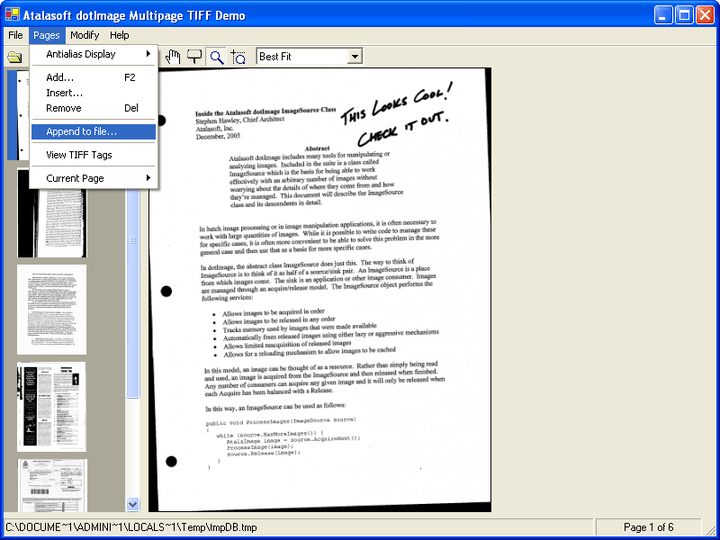 <strong>Atalasoft DotImage Document Imaging 스크린샷</strong>: Many document imaging applications require the use of multi-page TIFF images. DotImage Document Imaging is designed to handle this with the MultiFramedImageDecoder, the IAppendable interface and the ImageSource class which is designed to handle multi-framed images.<br /><br />