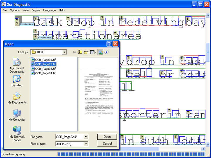 <strong>Atalasoft DotImage Document Imaging 스크린샷</strong>: The Atalasoft.Ocr namespace contains a set of classes for managing and processing documents for optical character recognition (OCR). While these classes provide the functionality necessary for OCR, few of these classes are tied directly to any particular OCR engine, allowing a client of the namespace to be immune from changes in the underlying engine. In addition to recognition, there are features built-in to allow translation of a page or set of pages <br /><br />