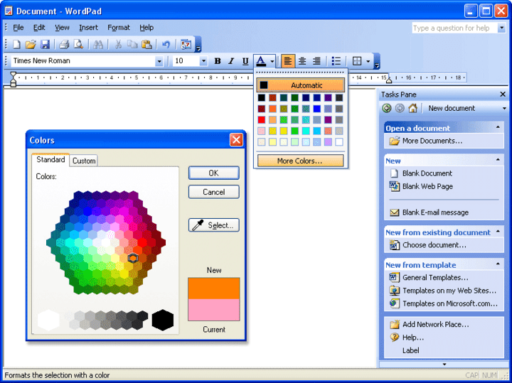 <strong>Screenshot TitleMS Word 2003-style GUI</strong>: MS Word 2003-style GUI including menus, toolbars, tasks pane and advanced color picker<br /><br />