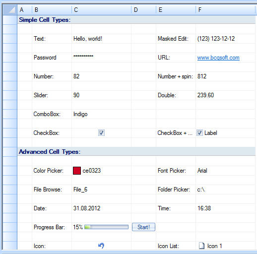 <strong>Grid Cell Types</strong>: The grid control supports the following cell types: Text, Masked text, Numeric, Icon, Numeric with the spin buttons, Combo box, Date/time picker, Color picker, URL, Check box, Custom cell times.<br /><br />